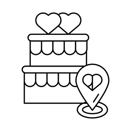 happy valentines day sweet cake with heart vector illustration design
