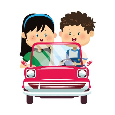Happy boy and girl in classic car over white background, colorful design, vector illustration