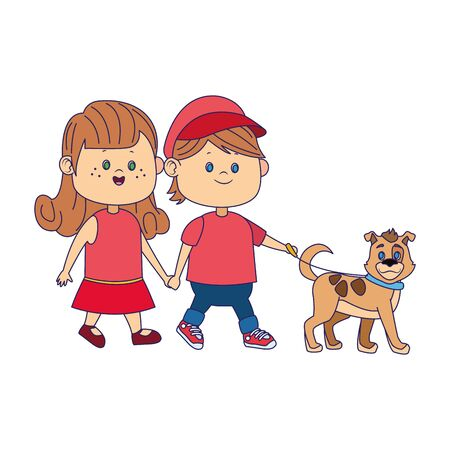 happy couple walking with cute dog over white background, vector illustration Illustration
