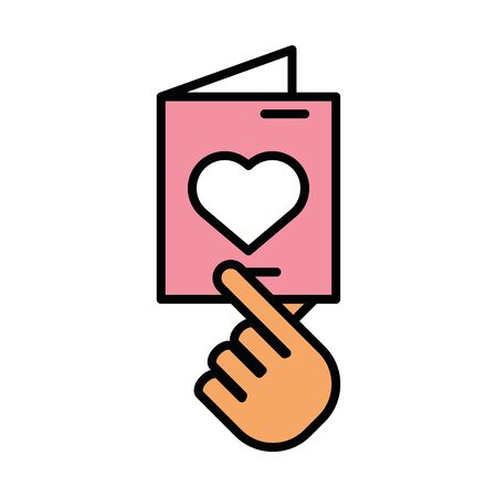 hand lifting happy valentines day postcard with heart vector illustration