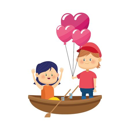 wooden canoe with happy couple in hearts balloons over white background, vector illustration Çizim