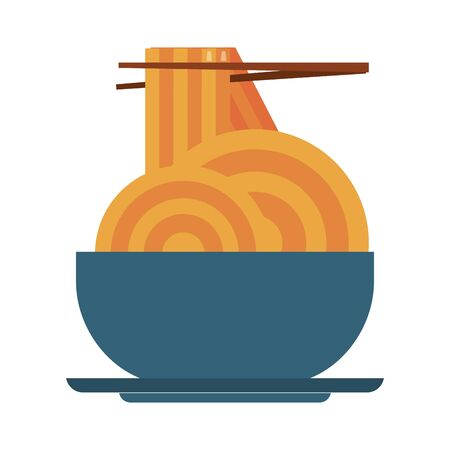 restaurant food and cuisine with chinese food spaghetti on a bowl with chopstick icon cartoons vector illustration graphic design