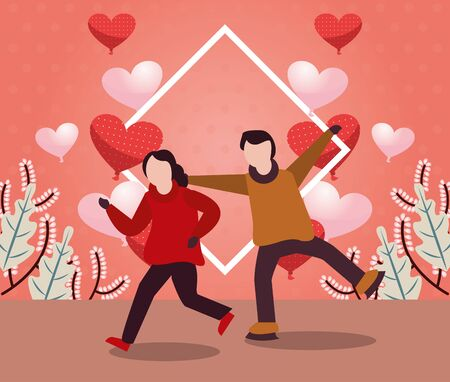 young lovers couple with winter clothes and love season vector illustration design