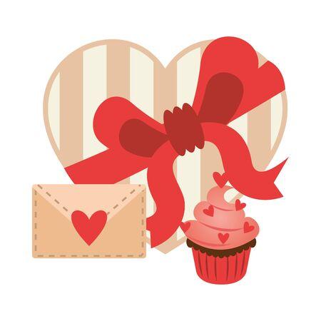 sweet cupcake with hearts and chocolate box vector illustration design Ilustração