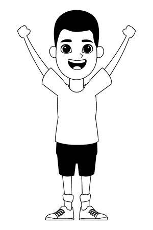 Jeune petit garçon afro-américain avec les mains en l'air avatar personnage portrait vector illustration graphic design