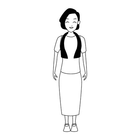 happy old woman standing icon over white background, flat design, vector illustration