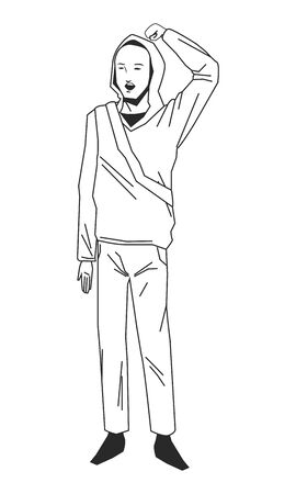 social activity and public protest man with the fist in the air in black and white avatar cartoon character vector illustration graphic design