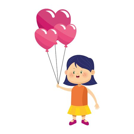 cute girl with heart balloons icon over white background, colorful design, vector illustration