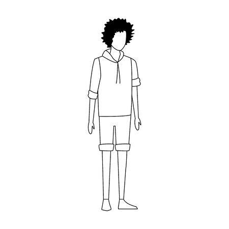 avatar man standing with curly hair over white background, vector illustration