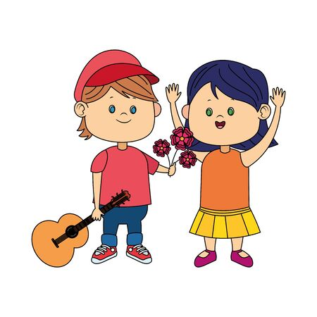 cartoon boy with guitar giving flowers a happy girl over white background, colorful design, vector illustration