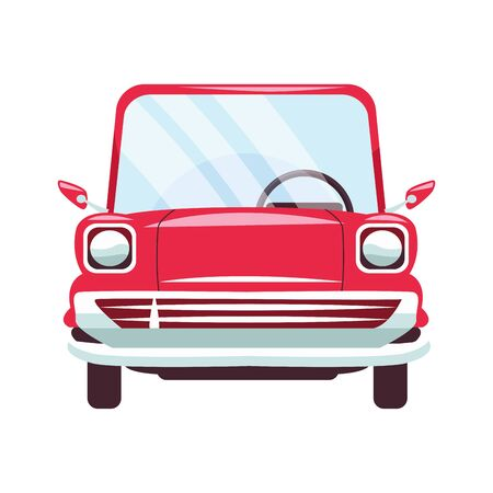 red classic car icon over white background, vector illustration