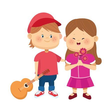 Lindo niño y niña con guitarra y flores sobre fondo blanco, diseño colorido, ilustración vectorial