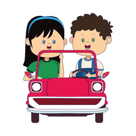 Happy boy and girl in classic car over white background, vector illustration