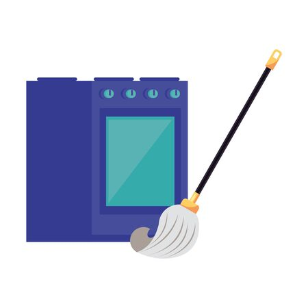 housekepping mop accessory with kitchen oven vector illustration design