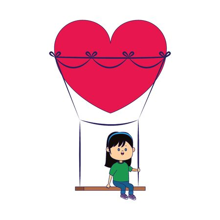 happy girl on swing with heart shape over white background, vector illustration