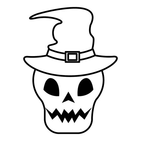 head skull with halloween witch hat accessory vector illustration design