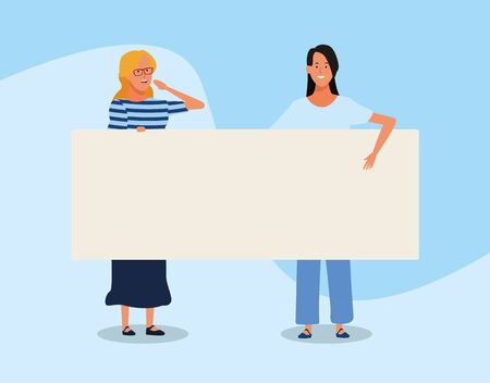 cartoon women with blank placard over blue background, colorful design. vector illustration