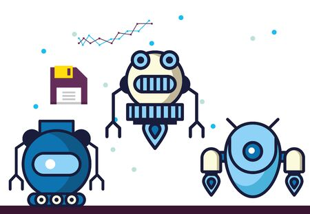 group of robots technology icons vector illustration design