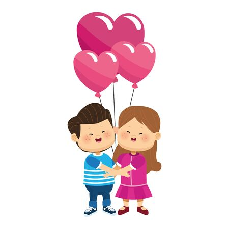 happy girl and boy in love with hearts balloons over white background, colorful design, vector illustration