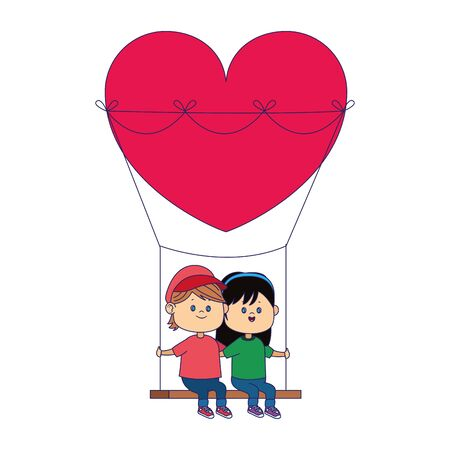 happy boy and girl in hearts swing over white background, vector illustration