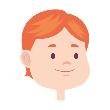 Cute young boy smiling face head cartoons ,vector illustration graphic design. Ilustrace