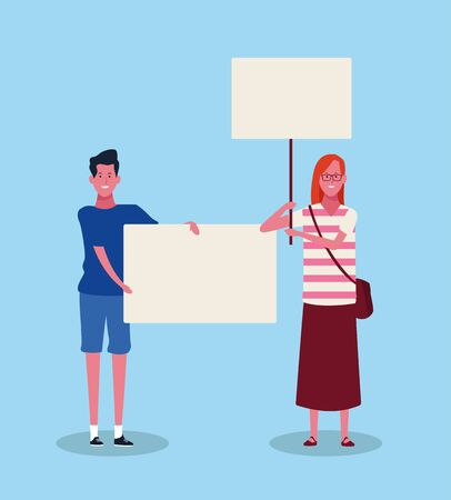 woman and man protesting with blank placards over blue background, colorful design. vector illustration