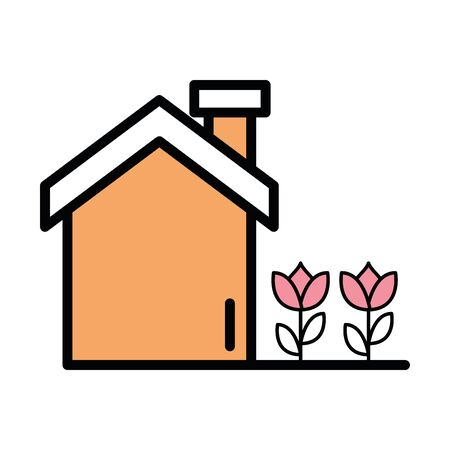 house facade with flowers icon vector illustration design