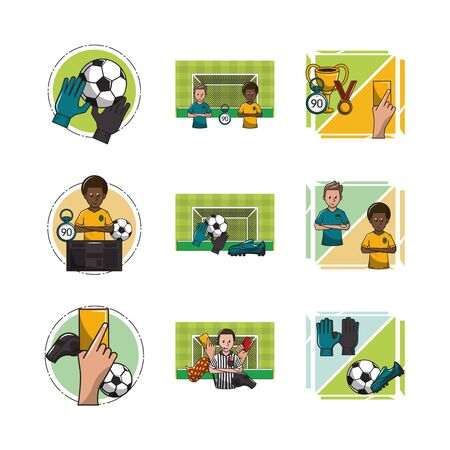 bundle of soccer sport icons vector illustration design