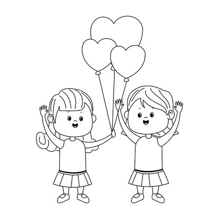 Cute girls with hearts balloons over white background, flat design, vector illustration