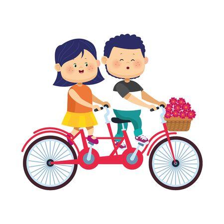 happy couple riding a double bike over white background, flat design, vector illustration Çizim