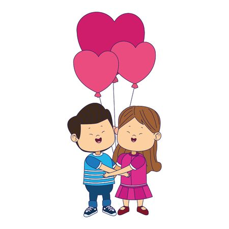 happy girl and boy in love with hearts balloons over white background, vector illustration Stok Fotoğraf - 138286178