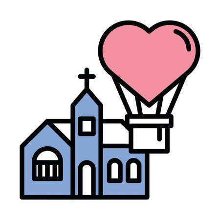 happy valentines day balloon air hot heart with church vector illustration