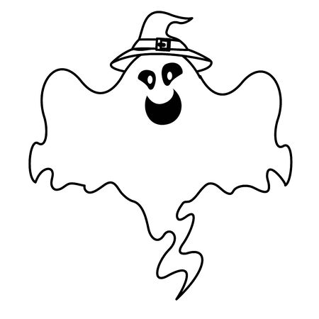halloween ghost floating with witch hat vector illustration design