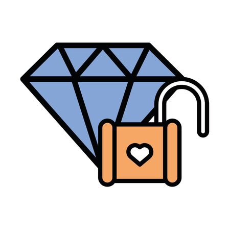 happy valentines day heart padlock vector illustration design