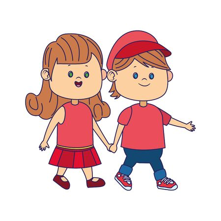 cartoon happy boy walking with cute girl over white background, vector illustration