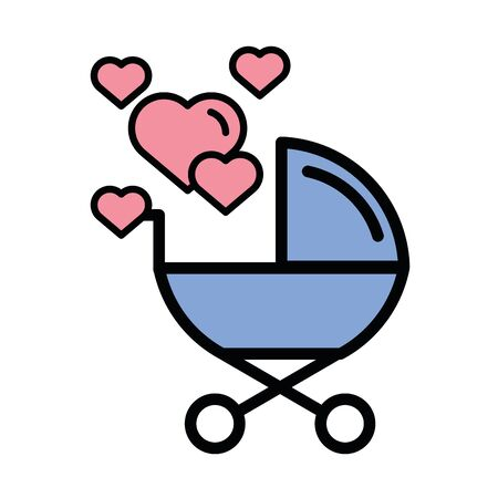 happy valentines day heart with baby cart vector illustration design Çizim
