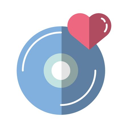 happy valentines day heart in compact disk vector illustration design