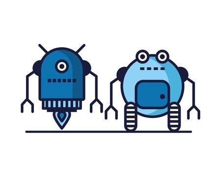 couple of robots technology icons vector illustration design Иллюстрация