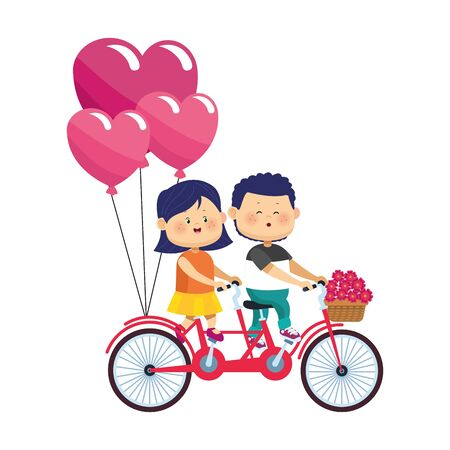 happy couple riding a double bike with hearts balloons over white background, colorful design, vector illustration