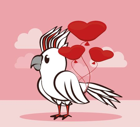 happy valentines day card with cute parrot vector illustration design