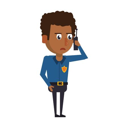 afro policeman with radio avatar cartoon character vector illustration graphic design