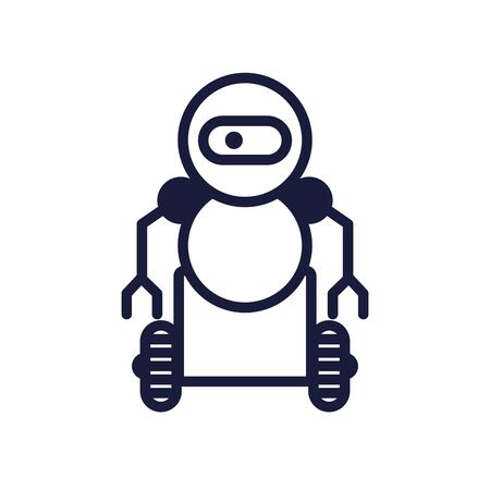 robot with wheels cyborg isolated icon vector illustration design