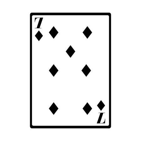 seven of diamonds card icon over white background, vector illustration Illustration