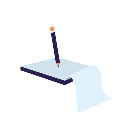 pencil and notebook icon over white background, colorful design, vector illustration
