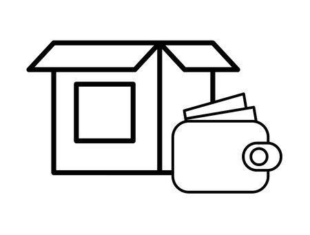 wallet money with box carton icon vector illustration design