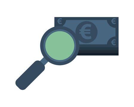 euro bills money with magnifying glass vector illustration design