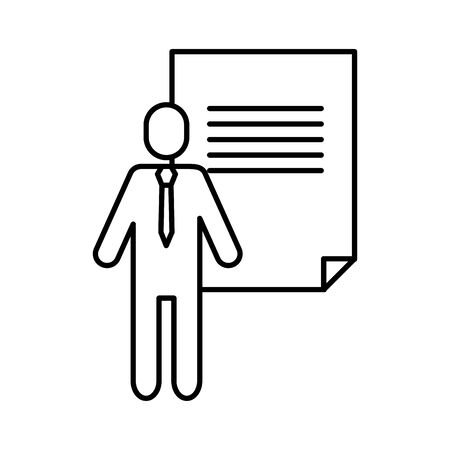 avatar businessman silhouette with paper document vector illustration design Illustration