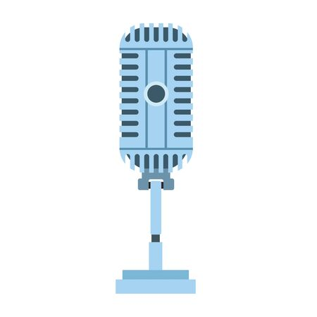 retro microphone with cord icon over white background, vector illustration Иллюстрация