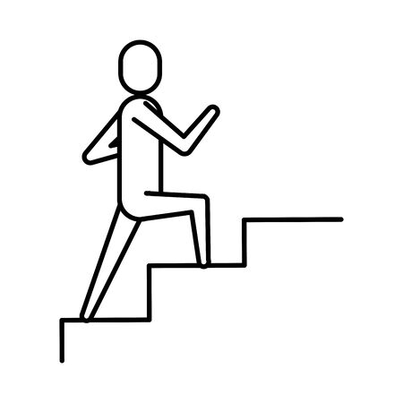 avatar businessman climbing stairs icon vector illustration design