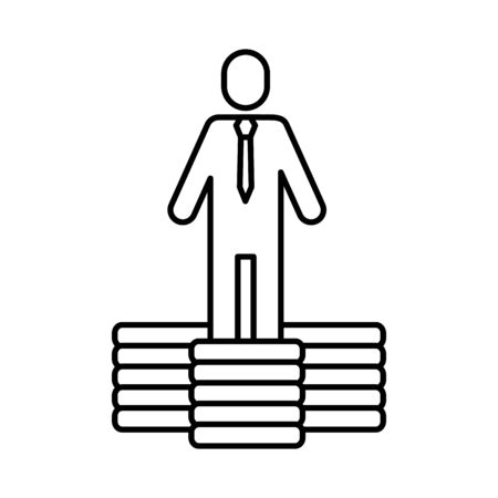 avatar businessman silhouette with coins money vector illustration design